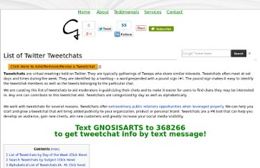 http://gnosisarts.com/home/Tweetchat_Wiki#List_of_Tweetchats