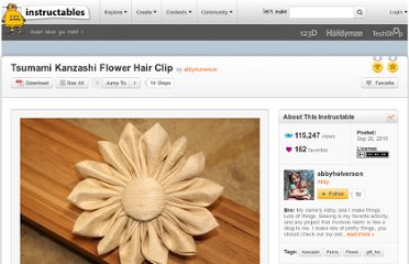 http://www.instructables.com/id/Tsumami-Kanzashi-Flower-Hair-Clip/
