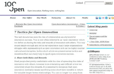 http://www.100open.com/2010/08/7-tactics-incentives-for-open-innovation/