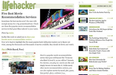 http://lifehacker.com/5642050/five-best-movie-recommendation-services