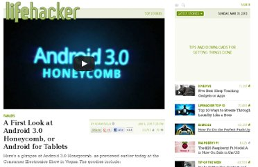 http://lifehacker.com/5726119/first-look-at-android-30-honeycomb-or-android-for-tablets