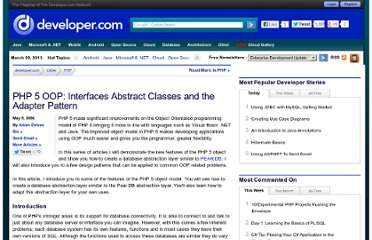 http://www.developer.com/lang/php/article.php/3604111/PHP-5-OOP-Interfaces-Abstract-Classes-and-the-Adapter-Pattern.htm