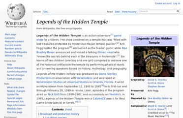 http://en.wikipedia.org/wiki/Legends_of_the_Hidden_Temple