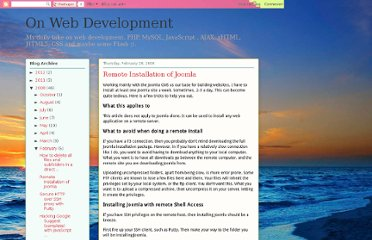 http://onwebdevelopment.blogspot.com/2008/02/remote-installation-of-joomla.html