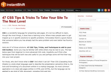 http://www.instantshift.com/2010/03/15/47-css-tips-tricks-to-take-your-site-to-the-next-level/