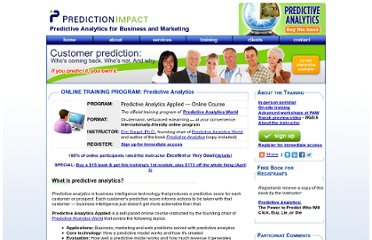http://www.predictionimpact.com/predictive-analytics-online-training.html