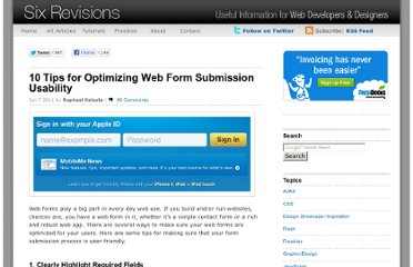 http://sixrevisions.com/user-interface/10-tips-for-optimizing-web-form-submission-usability/