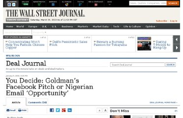 http://blogs.wsj.com/deals/2011/01/05/you-decide-goldmans-facebook-pitch-or-nigerian-email-opportunity/#
