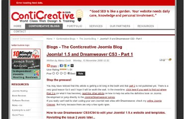 http://www.conticreative.com/The-Conticreative-Joomla-Blog/joomla-15-and-dreamweaver-cs3-part-1.html