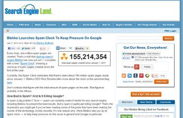 http://searchengineland.com/blekko-launches-spam-clock-to-keep-pressure-on-google-60634