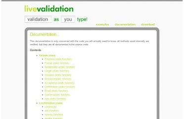 http://livevalidation.com/documentation