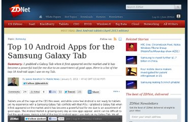 http://www.zdnet.com/blog/mobile-news/top-10-android-apps-for-the-samsung-galaxy-tab/179