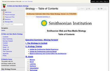 http://smithsonian-webstrategy.wikispaces.com/Strategy+--+Table+of+Contents
