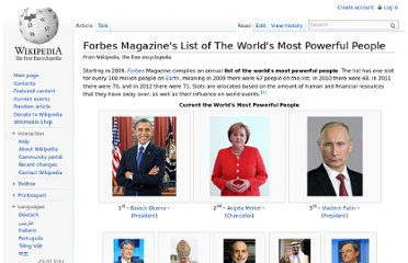 http://en.wikipedia.org/wiki/Forbes_Magazine%27s_List_of_The_World%27s_Most_Powerful_People