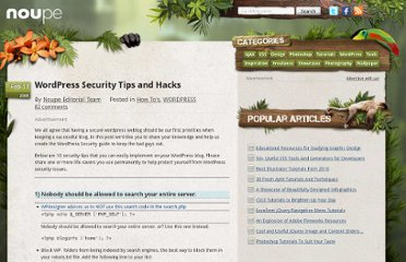 http://www.noupe.com/how-tos/wordpress-security-tips-and-hacks.html