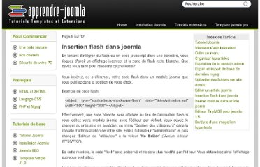 http://www.apprendre-joomla.com/insertion-flash-dans-joomla.html