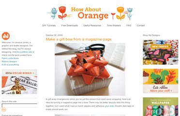 http://howaboutorange.blogspot.com/2009/10/make-gift-bow-from-magazine-page.html