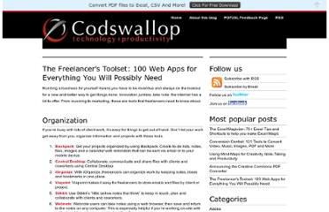 http://www.cogniview.com/convert-pdf-to-excel/post/the-freelancers-toolset-100-web-apps-for-everything-you-will-possibly-need/