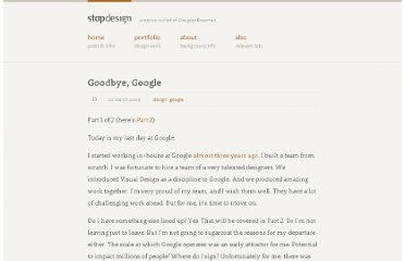 http://stopdesign.com/archive/2009/03/20/goodbye-google.html