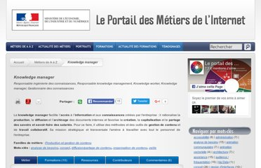 http://www.metiers.internet.gouv.fr/metier/knowledge-manager