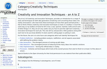 http://www.mycoted.com/Category:Creativity_Techniques