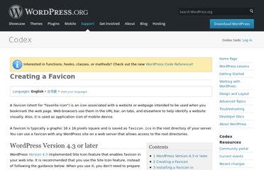 http://codex.wordpress.org/Creating_a_Favicon