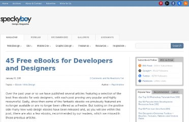 http://speckyboy.com/2011/01/12/45-free-ebooks-for-developers-and-designers/