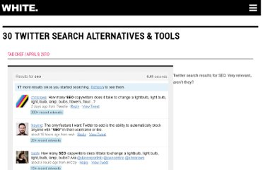 http://www.seoptimise.com/blog/2010/04/30-twitter-search-alternatives-tools.html