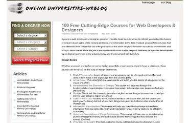 http://www.onlineuniversities-weblog.com/50226711/100-free-cutting-edge-courses-for-web-developers-designers.php