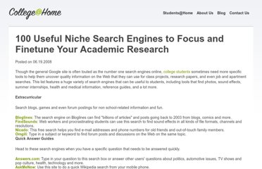 http://www.collegeathome.com/blog/2008/06/19/100-useful-niche-search-engines-youve-never-heard-of/