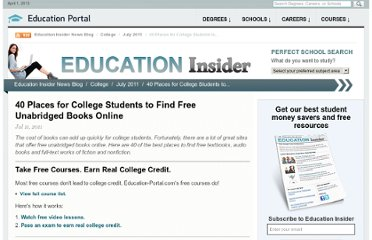 http://education-portal.com/articles/40_Places_for_College_Students_to_Find_Free_Unabridged_Books_Online.html
