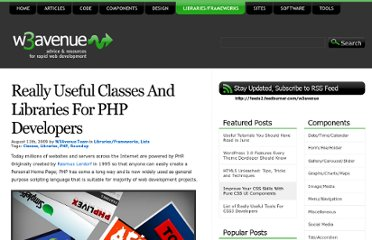 http://www.w3avenue.com/2009/08/11/really-useful-classes-and-libraries-for-php-developers/