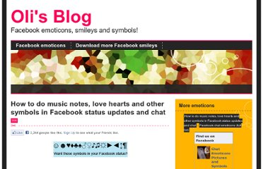 http://www.djod.co.uk/2008/12/16/how-to-do-music-notes-love-hearts-and-other-symbols-in-facebook-status-updates-and-chat/