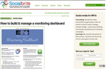 http://www.socialbrite.org/2011/01/13/how-to-build-manage-a-monitoring-dashboard/