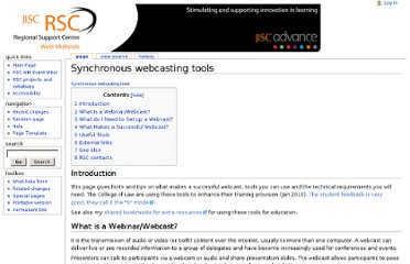 http://wiki.rscwmsystems.org.uk/index.php/Synchronous_webcasting_tools