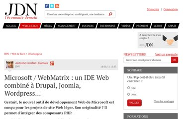 http://www.journaldunet.com/developpeur/technos-net/webmatrix-developpement-web.shtml