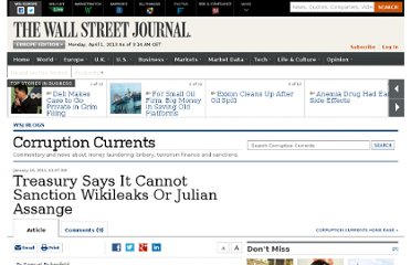 http://blogs.wsj.com/corruption-currents/2011/01/14/treasury-says-it-cannot-sanction-wikileaks-or-julian-assange/