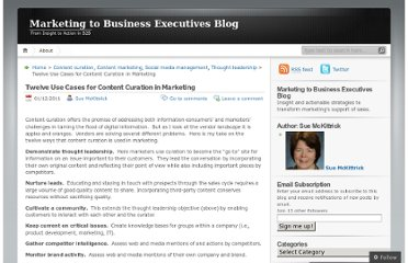 http://mktg2bizexecs.wordpress.com/2011/01/12/ten-use-cases-for-content-curation-in-marketing/