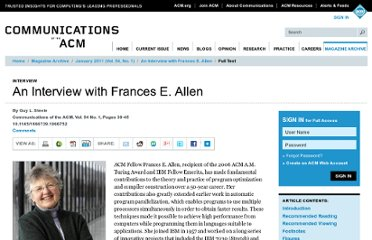 http://cacm.acm.org/magazines/2011/1/103191-an-interview-with-frances-e-allen/fulltext