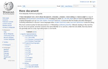 http://en.wikipedia.org/wiki/Here_document#Unix_Shells