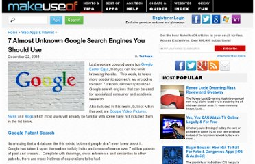 http://www.makeuseof.com/tag/7-almost-unknown-google-search-engines-you-should-use/