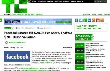 http://techcrunch.com/2011/01/14/facebook-shares-hit-28-26-per-share-thats-a-70-billion-valuation/