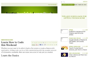 http://lifehacker.com/5733449/learn-how-to-code-this-weekend