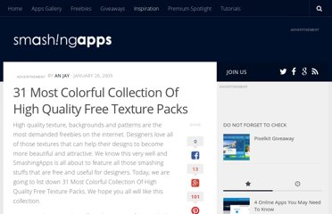http://www.smashingapps.com/2009/01/26/31-most-colorful-collection-of-high-quality-texture-packs.html