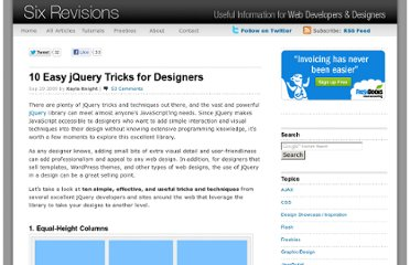 http://sixrevisions.com/javascript/10-easy-jquery-tricks-for-designers/