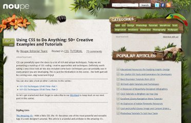 http://www.noupe.com/css/using-css-to-do-anything-50-creative-examples-and-tutorials.html