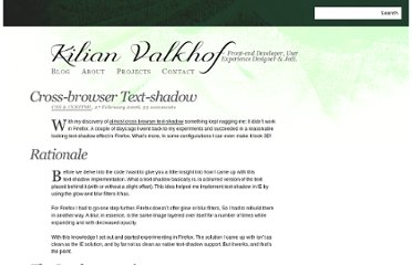 http://kilianvalkhof.com/2008/css-xhtml/cross-browser-text-shadow/