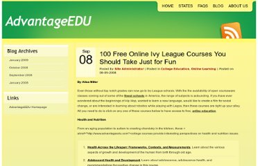 http://www.advantageedu.com/blog/2008/100-free-online-ivy-league-courses-you-should-take-just-for-fun/