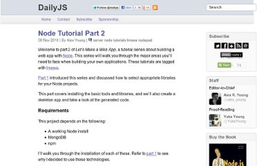 http://dailyjs.com/2010/11/08/node-tutorial-2/