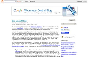 http://googlewebmastercentral.blogspot.com/2007/07/best-uses-of-flash.html